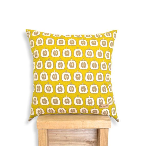 Apple Mustard  Cushion Cover Nursery Pillow by TheWiggleTree get warm and funky with it - mustard is a great unisex colour