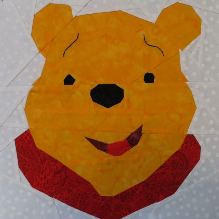 Pooh Bear by Lynne S. Free paper pieced pattern on fandominstitches.com! #winniethepooh