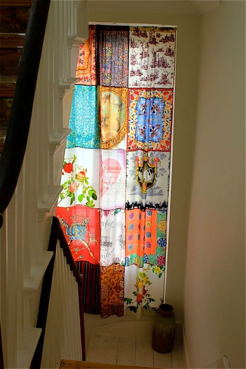 scarf curtain, would be a cute thing to do for the kitchen window to add color and pretty scarves!