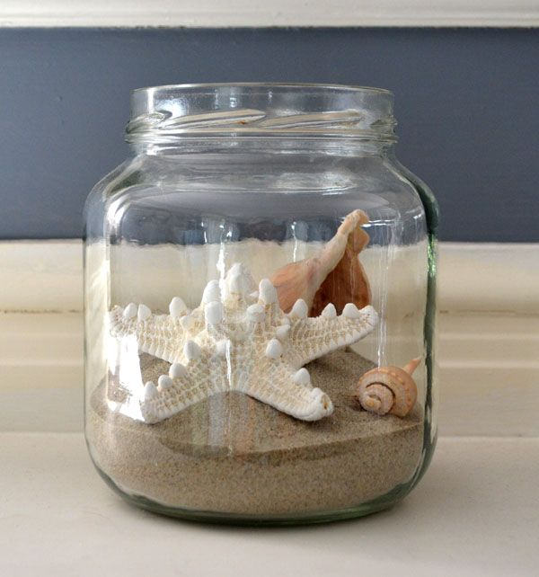 Beach jars- great idea for all the shells by boys collected at the ocean