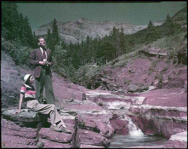 Tourists at Red Rock Canyon, Waterton Lakes National Park, Alberta / Des touristes à Red Rock Canyon, au parc national des Lacs-Waterton, en Alberta | by BiblioArchives / LibraryArchives