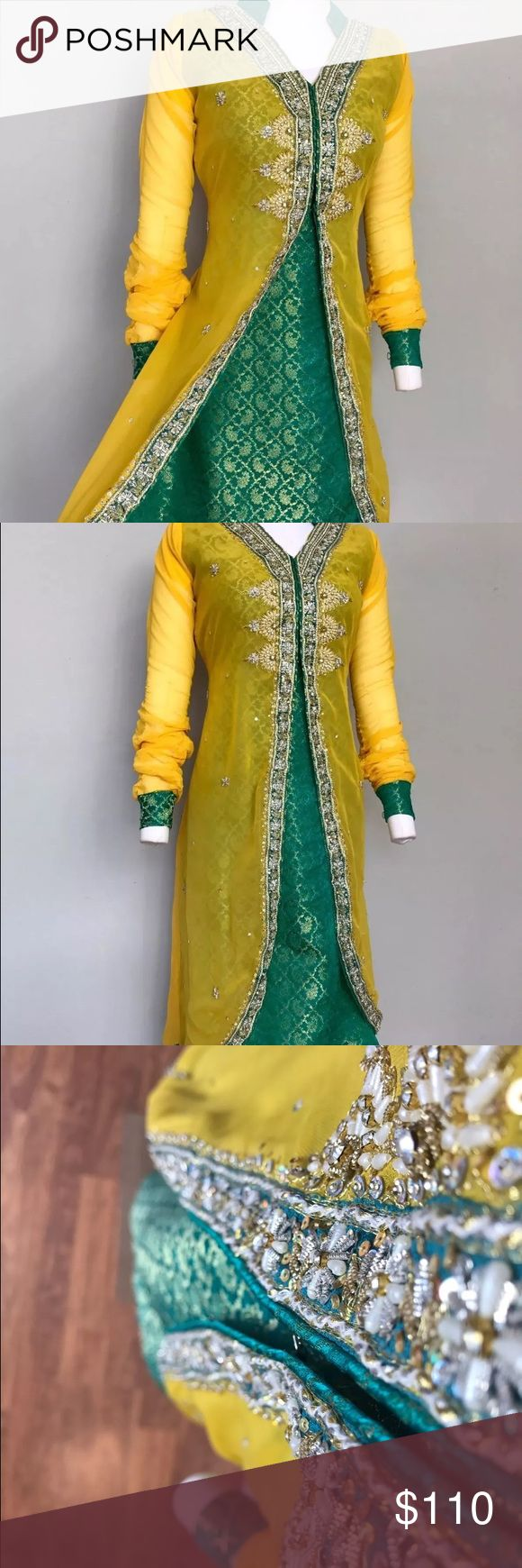 SOLD❗️ Indian Anarkali salwar sari lehenga Banarsi brocade Anarkali dress opening in middle. It has heavy zari / stone work done all over dress especially on the borders. Duppatta and pajama are plain Dresses Maxi
