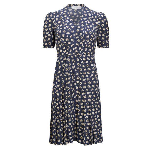 Edina Ronay Women's Exclusive Daisy Print Vintage Gathered Dress - Navy