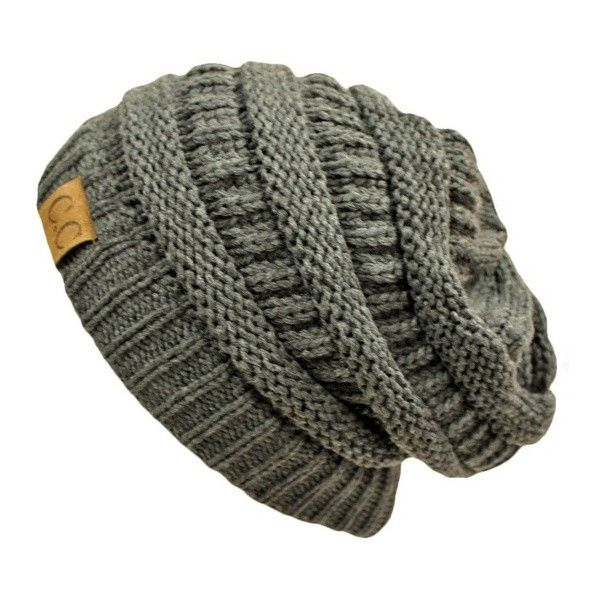 Charcoal Grey Thick Slouchy Knit Oversized Beanie Cap Hat