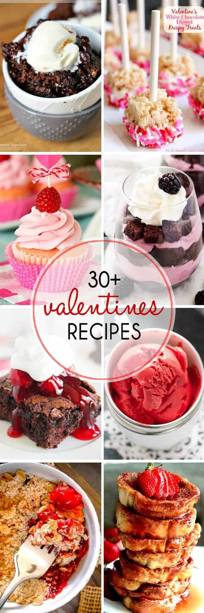 30 Plus Valentines Day Recipes: Over thirty fun sweets and treat ideas for a romantic dinner or a class Valentine's Day class party. #valentinesday
