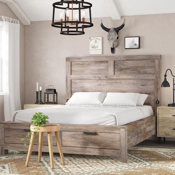 Sandford Storage Platform Bed in 2021   Rustic bedroom design, Wood bedroom sets, Rustic bedroom