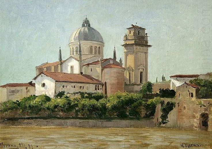 Ansicht von Verona an der Etsch, 1878 by Walter Moras (1856 - 1925)...(a view of The church of San Giorgio in Braida)