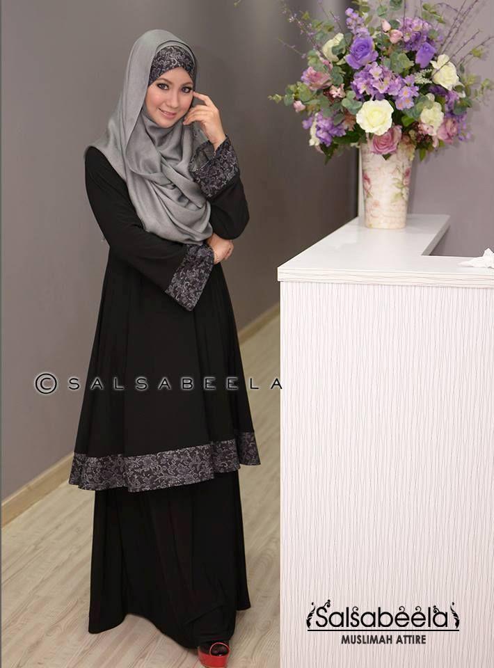Muslimah Black Floral Baju Kurung Pahang