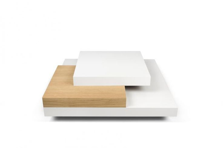Slate, modern square coffee table in white and oak finish