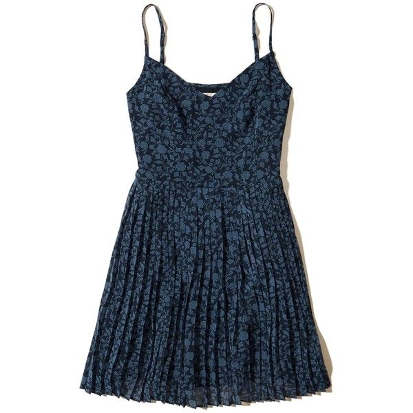 Hollister Ruffle Skater Dress ($50) ❤ liked on Polyvore featuring dresses, navy print, navy blue dress, blue print dress, navy blue skater skirt, v neck dress and flared skirt