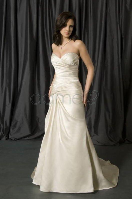 A Linie Herz Ausschnitt Perlen Satin Aussen Traegerloses Bodenlanges Brautkleid P4593 $373.99 Brautkleider