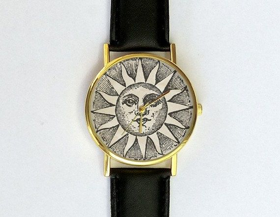 Vintage zon illustratie horloge Unisex horloge door 10northcreative