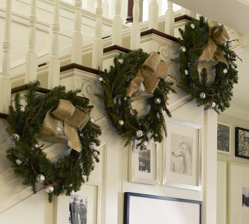 burlap and bells - simple and cheap!Christmas Wreaths, Christmas Decor Ideas, Jingle Belle, Christmas Stairs, Garlands, Burlap Bows, Holiday Decor, Pottery Barns, Christmas Staircase