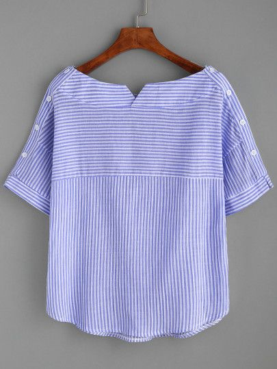Boat Neckline Striped Blouse With Buttons from SheIn. It's super affordable, too! #ad