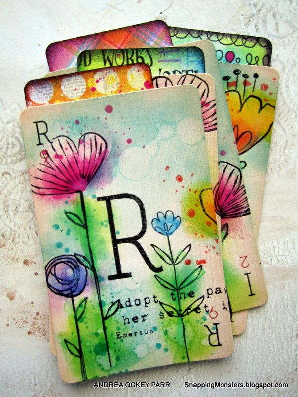Cutest Prima card set ever>>> Snapping Monsters: My Cards and Tags: Rain Cards Using the Sketched Blooms Stamp Set by My Favorite Things