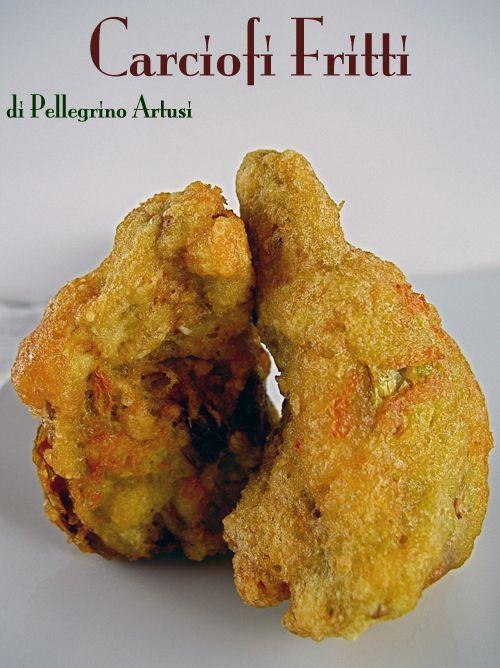 Ricetta carciofi fritti di Pellegrino Artusi. Qui (clic) tante altre ricette con i carciofi. Prendete, per esempio, due carciofi, nettateli dalle foglie ...