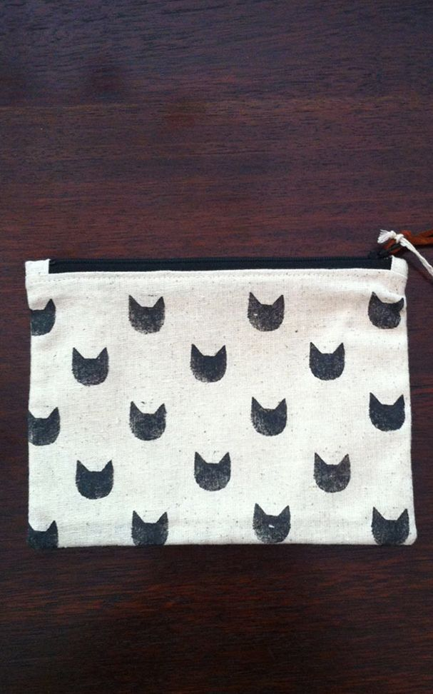 Hand printed kitty pouch
