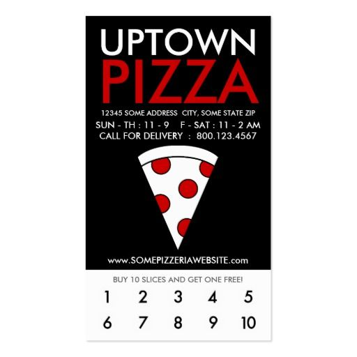 uptown pizza loyalty business card #loyalty #cards