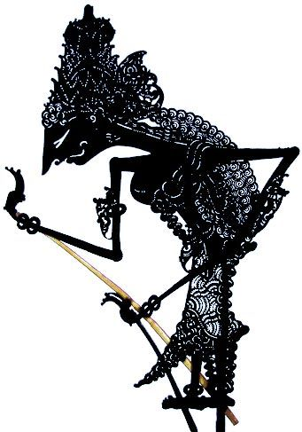 Shadow puppets have been used by many Eastern and Western cultures to tell their stories. This is an example of a finely cut Wayang Kulit puppet from Java, Indonesia. It is made from buffalo skin with rods made from cow horns.