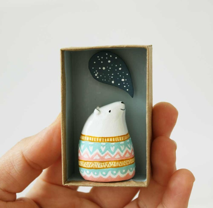 Animal figurine - Paper clay art object - Ursus the astrologer polar bear - Pocket box miniature scene. £30.00, via Etsy.