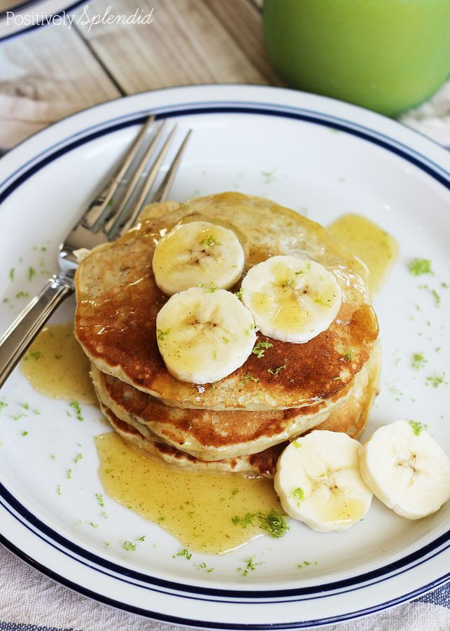 Coconut Banana Pancakes with Cinnamon Honey Butter | Positively ...