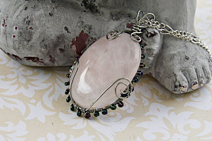 Rose Quartz Cabochon Necklace - Rose Quartz Crystal Pendant - Wire Wrapped Rose Quartz Stone - Large Pink Quartz Bridal Necklace - For Her by FairyJewelryBox on Etsy
