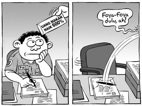 Kartun Benny, Kontan - Agustus 2014: UANG MAKAN PNS NAIK 600%
