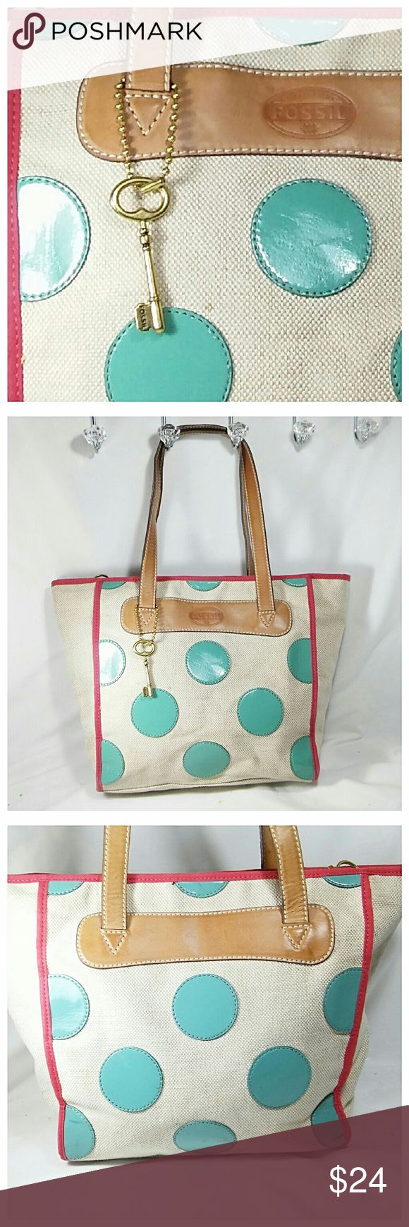 """Large Fossil Polka Dot Tote Sturdy canvas bag with fun teal polka dots. This bag is roomy enough for all of your essentials and then some. As you can see there are obvious blemishes, but it's in good shape overall. Measures 11"""" H x 10.5"""" L x 4"""" W + 9"""" strap drop. 💥 Reasonable offers accepted 💥 Fossil Bags Totes"""