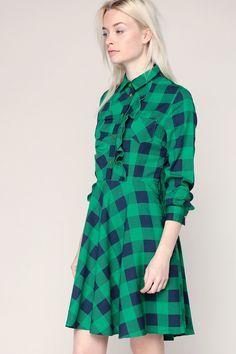 Robe chemise évasée verte imprimé carreaux marine volants Country - Minueto