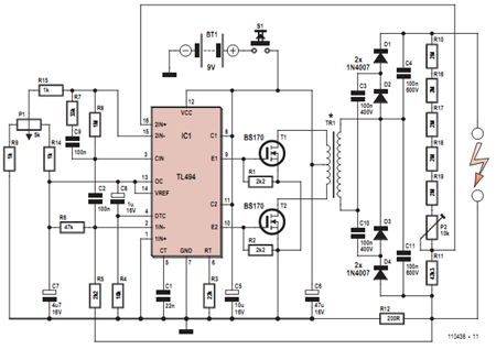 electrical engineering projects with circuit diagram   free    high voltage generator circuit diagram eee