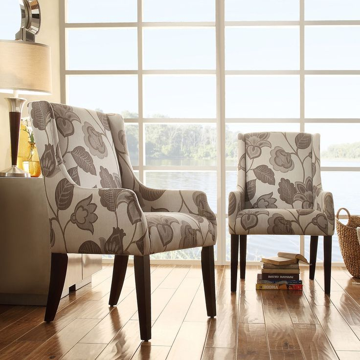 Jourdan Grey Floral Sloped Arm Hostess Chair Dining Home Furniture Chairs Modern Accent ChairsDining ChairsRoom
