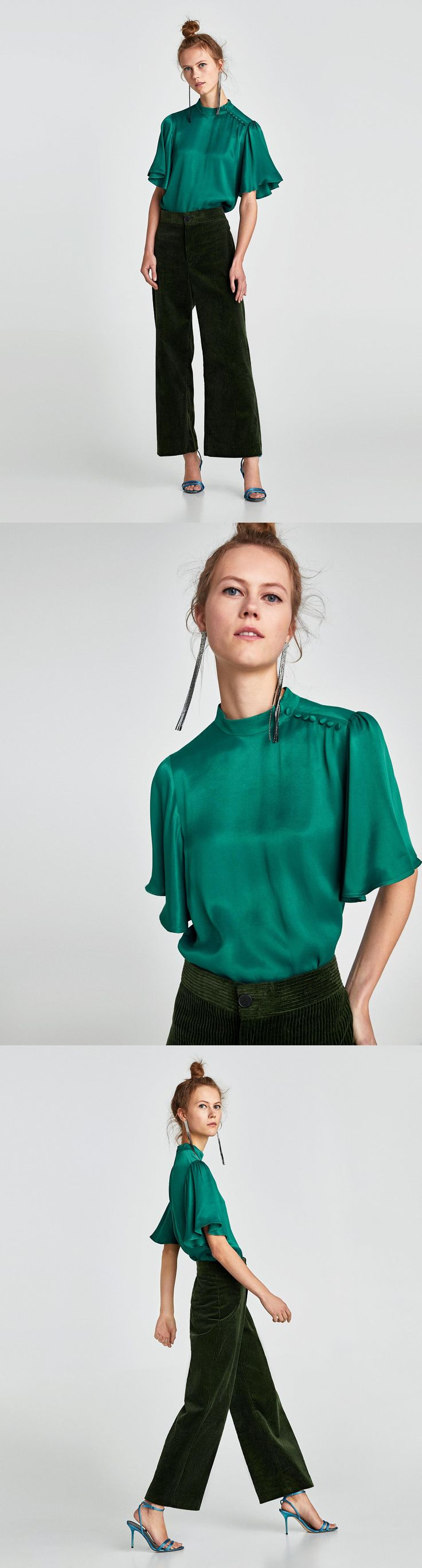 Blouse With Frilled Sleeves // 49.90 USD // Zara // Flowing blouse with a high collar, short full sleeves and lined buttons on the neck and shoulders. Fastens in the back with a zip hidden in the seam. HEIGHT OF MODEL: 178 CM / 5′ 10″