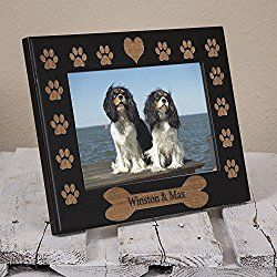 Dog Name Photo/ Picture Frame Engraved on Wood - Personalized Dog Frame - Pawprints