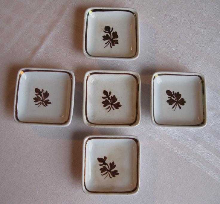 Antique Ironstone Meakin Copper Tea Leaf Butter Pats