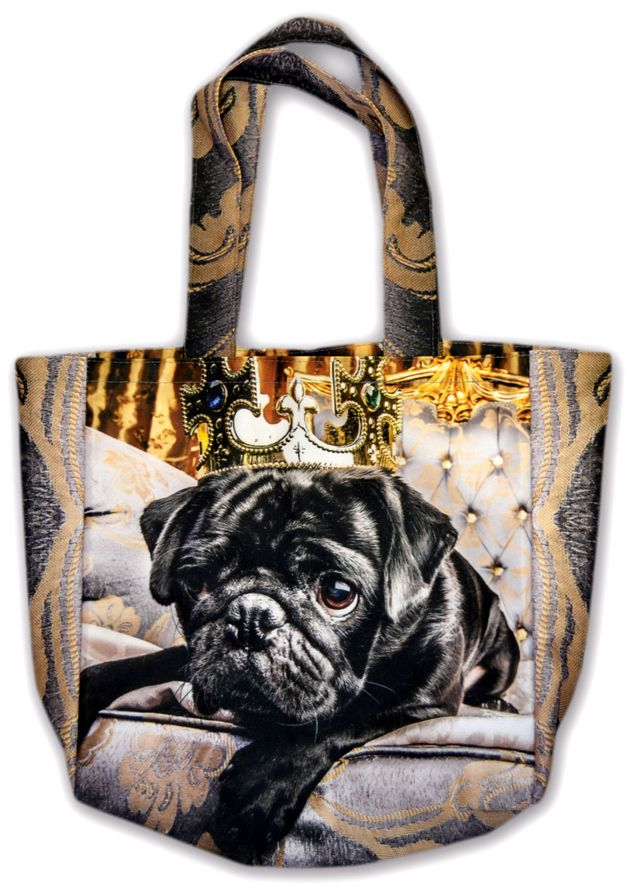 Tote bag with black pug