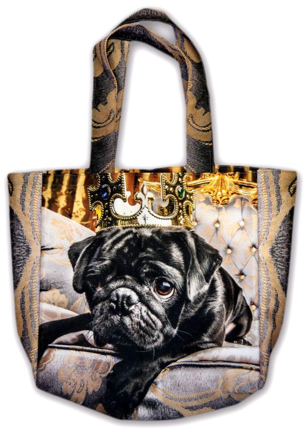 Tote bag with black pug