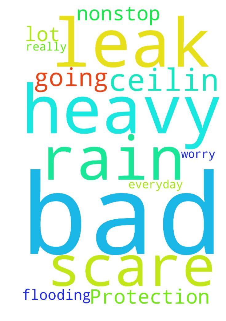 Protection I'm scare -  Need prayers a lot of heavy rain really bad everyday nonstop n bad flooding n worry my ceilin going to leak ;  Posted at: https://prayerrequest.com/t/E1Z #pray #prayer #request #prayerrequest