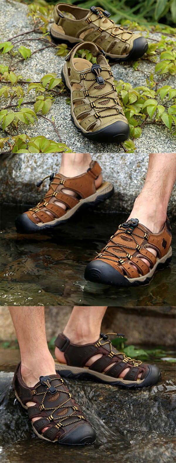 US$43.26 + Free shipping. Men's shoes, men's sandals, summer shoes, men leather sandals, beach sandals shoes. Leather material, breathable and casual, perfect for summer!