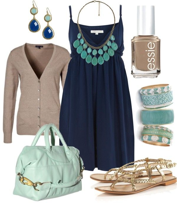 Casual Outfit: Cardigans, Summer Dresses, Casual Outfit, Color Combos, Blue, Navy Dresses, Fashionista Trends, The Dresses, The Navy