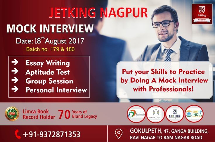 #MOCKInterview for Students on 18th August to Put your skills to Practice by doing a Mock interview with Professionals by #JETKINGNAGPUR organized  #JetkingGokulpeth  Students will be going through with  #EassyWriting  #AptitudeTest  #GroupSession  #PersonalInterview Technique  Call Today to enroll your name 9372871353 Hurry Up!