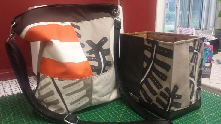 Canvas tote bag and organizer... I love this fabric.. I got is in IKEA and comes in 8'' squares...