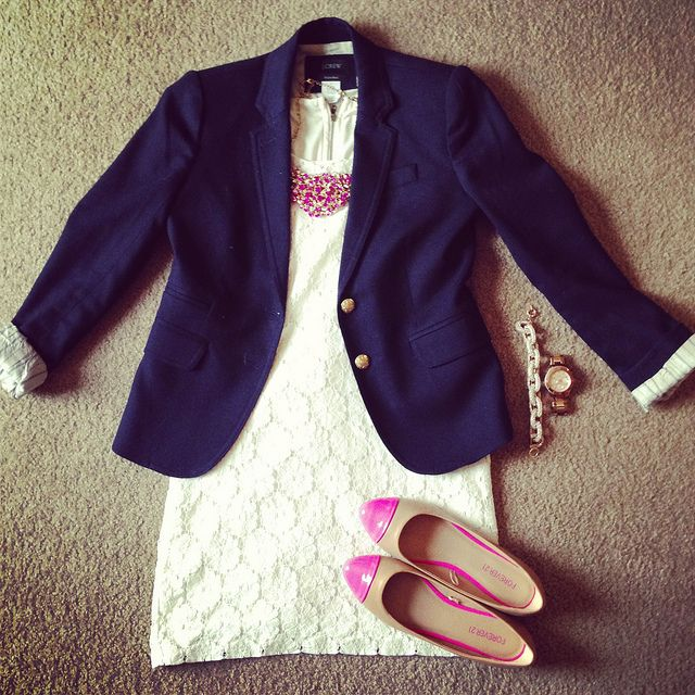 lace dress and navy blazer