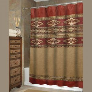 Red Black And Tan Shower Curtain