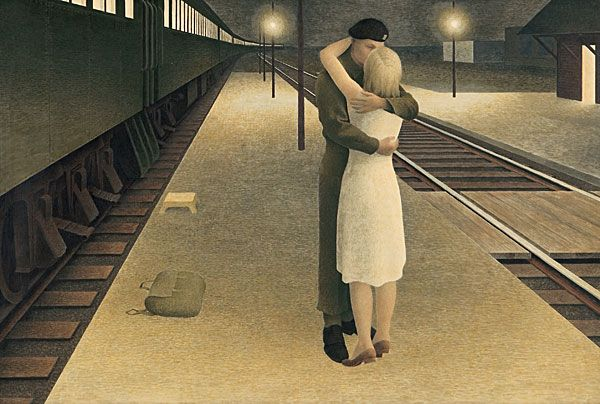Alex Colville Canadian Artist TEMPERA Soldier and Girl at Station