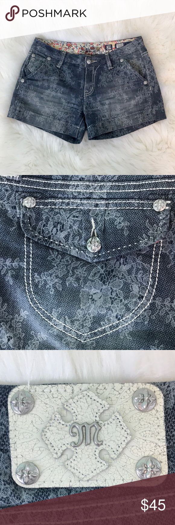 Miss Me Women's Indigo Lace Jean Shorts Fun pair of women's Miss Me Jean Shorts, size 29. Jean with unique lace print. Clean, straight edge on cuffs. Beautiful thick, white stitching. Classic look with a twist. Comes from clean, smoke free home. Open to offers/bundles, message me with questions :) Miss Me Shorts Jean Shorts