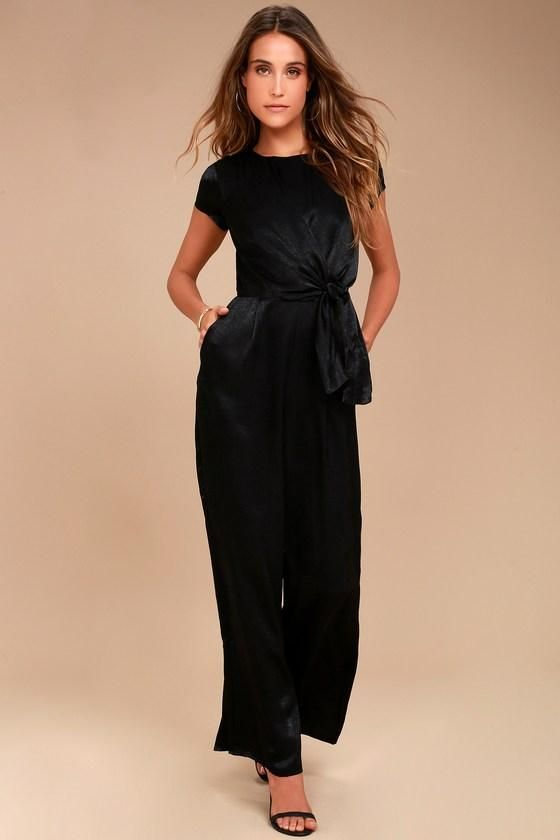 Be The Perfect Hostess In Let Me Entertain You Black Satin Wide Leg Jumpsuit Silky Shapes This With Tying Bodice