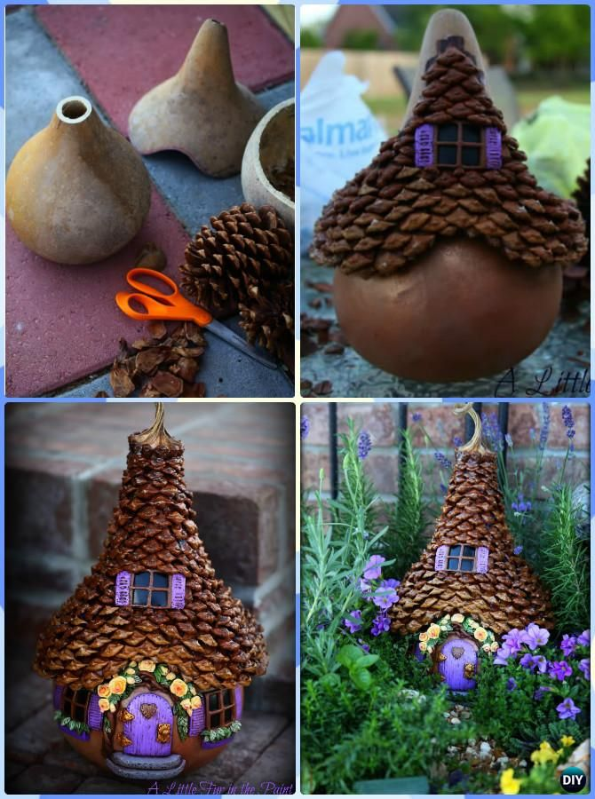 DIY Gourd Pinecone Fairy House Instruction-DIY Gourd Craft Projects                                                                                                                                                                                 More