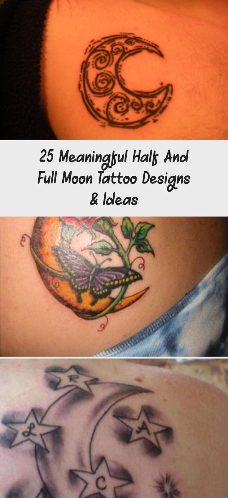 25 Meaningful Half And Full Moon Tattoo Designs & Ideas