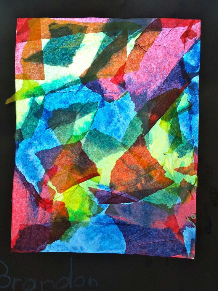 Art with Ms. Gram / 1st Grade / Primary/Secondary color mixing / Tissue Paper Collage