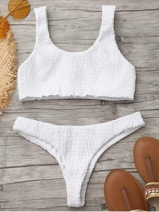 Up to 80% OFF! Smocked Bikini Top And Thong Bottoms. #Zaful #swimwear Zaful, zaful bikinis, zaful dress, zaful swimwear, style, outfits,sweater, hoodies, women fashion, summer outfits, swimwear, bikinis, micro bikini, high waisted bikini, halter bikini, crochet bikini, one piece swimwear, tankini, bikini set, cover ups, bathing suit, swimsuits, summer fashion, summer outfits, Christmas, ugly Christmas, Thanksgiving, Gift, New Year Eve, New Year 2017. @zaful Extra 10% OFF Code:ZF2017
